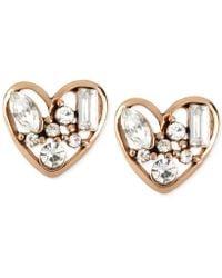 Betsey Johnson Rose Gold-tone Crystal Heart Stud Earrings - Pink