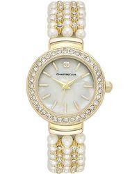 Charter Club - Women's Crystal Gold-tone Imitation Pearl Bracelet Watch 28mm - Lyst