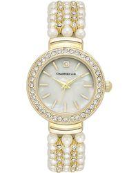 Charter Club Women's Crystal Gold-tone Imitation Pearl Bracelet Watch 28mm - Metallic