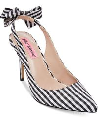 Betsey Johnson - Ginjer Gingham Bow Slingback Court Shoes - Lyst