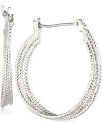 Nine West - Multi-row Textured Hoop Earrings - Lyst