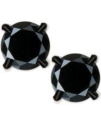 Macy's Black Diamond Stud Earrings In Stainless Steel (2 Ct. T.w.)