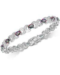 Macy's - Peridot (7 Ct. T.w.) & Diamond Accent Bangle Bracelet In Sterling Silver - Lyst