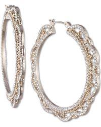 "Marchesa - Gold-tone Medium Crystal Filigree Hoop Earrings 1-1/3"" - Lyst"