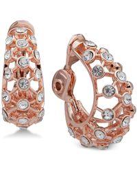 Anne Klein - Crystal Openwork Clip-on Hoop Earrings - Lyst