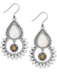 Lucky Brand - Silver-tone White & Brown Stone Drop Earrings - Lyst