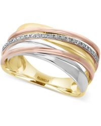 Effy Collection - Diamond Tri-tone Ring (1/10 Ct. T.w.) In 14k Yellow, White And Rose Gold - Lyst