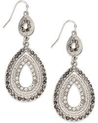 INC International Concepts - Silver-tone Pave Double Drop Earrings - Lyst