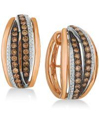Le Vian - Chocolatier® Diamond Hoop Earrings (1-1/4 Ct. T.w.) In 14k Rose Gold & White Gold - Lyst