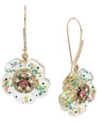 Betsey Johnson - Gold-tone Crystal Flower Drop Earrings - Lyst