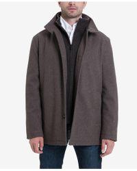 London Fog Men's Wool-blend Layered Car Coat - Brown