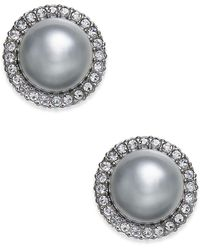 Danori | Hematite-tone Pavé & Gray Imitation Pearl Stud Earrings | Lyst