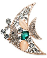 Charter Club Rose Gold-tone Crystal & Stone Angelfish Pin, Created For Macy's - Metallic