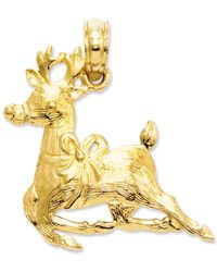 Macy's - 14k Gold Charm, Polished Reindeer Charm - Lyst