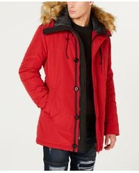 Guess Heavy Weight Parka Jacket - Red