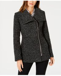 INC International Concepts Inc Asymmetrical Faux-leather-trim Coat, Created For Macy's - Multicolor