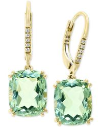 Effy Collection Effy® Green Quartz (8-1/3 Ct. T.w.) & Diamond Accent Drop Earrings In 14k Gold