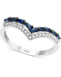 Effy Collection Effy® Sapphire (1/2 Ct. T.w) & Diamond (1/8 Ct. T.w.) Statement Ring In 14k White Gold - Multicolour