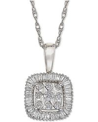 Macy's - Diamond Framed Cluster Adjustable Pendant Necklace (1/3 Ct. T.w.) In 14k White Gold - Lyst
