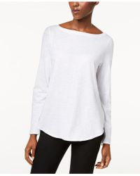 Eileen Fisher - Organic Cotton Bateau-neck Top - Lyst