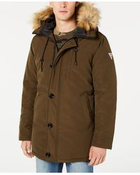 Guess Hooded Parka With Removable Faux-fur Trim - Green