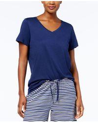 Hue V-neck Cotton-blend Top - Blue