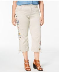 Style & Co. - Plus Size Petal Fusion Embroidered Cropped Pants, Created For Macy's - Lyst