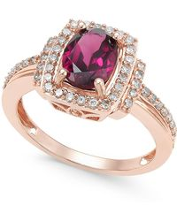 Macy's - Rhodolite Garnet (1-1/5 Ct. T.w.) And Diamond (1/3 Ct. T.w.) Ring In 14k Rose Gold - Lyst