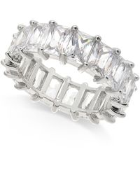 INC International Concepts Inc Silver-tone Crystal Baguette Statement Ring, Created For Macy's - Metallic