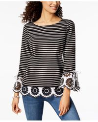 Charter Club - Striped Eyelet-contrast Top, Created For Macy's - Lyst