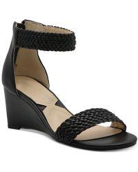 Adrienne Vittadini Pepper Wedge Sandals - Black