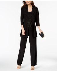 R & M Richards Glitter-print Pantsuit - Black