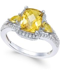 Macy's - Citrine (2-1/4 Ct. T.w.) And White Topaz (1/4 Ct. T.w.) Ring In Sterling Silver - Lyst