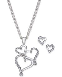 Charter Club - Silver-tone Pavé Heart Pendant Necklace And Stud Earrings Set - Lyst