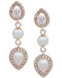 Anne Klein - Crystal And Imitation Pearl Drop Earrings - Lyst