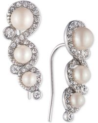 Carolee - Silver-tone Crystal & Imitation Pearl Ear Climber Earrings - Lyst