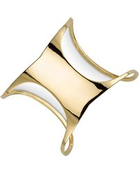 Sarah Chloe - Polished Concave Cuff Bracelet In 14k Gold-plated Sterling Silver - Lyst