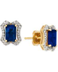 Macy's Sapphire (1-3/8 Ct. T.w.) & Diamond (1/6 Ct. T.w.) Stud Earrings In 14k Gold - Blue