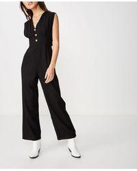 Cotton On Woven Delilah Deep V Jumpsuit - Black