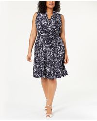 Charter Club Plus Size Scenic Belted Dress, Created For Macy's - Blue