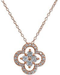 """Giani Bernini - Cubic Zirconia Flower 18"""" Pendant Necklace In Sterling Silver, Created For Macy's - Lyst"""