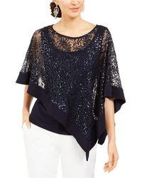 R & M Richards Sequinned-overlay Top - Blue
