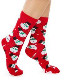 Charter Club Snowmen Crew Socks, Created For Macy's - Red