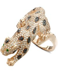 Effy Collection - Black And White Diamond (1-1/2 Ct. T.w.) And Emerald Accent Panther In 14k Rose Gold - Lyst