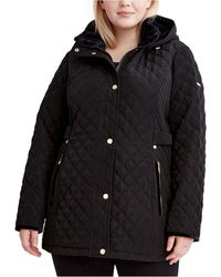 Laundry by Shelli Segal Plus Size Faux-sherpa-lined Quilted Coat - Black