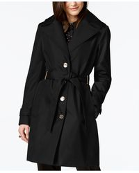 Calvin Klein Belted Water-resistant Trench Coat, Created For Macys - Black