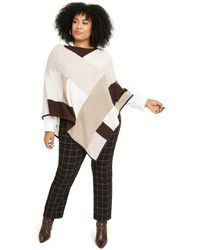 Charter Club Plus Size Cashmere Colorblocked Poncho, Created For Macy's - Brown
