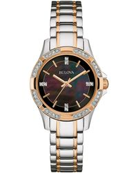 Bulova - Crystal Two-tone Stainless Steel Bracelet Watch 30mm, A Macy's Exclusive - Lyst