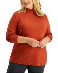 Karen Scott Plus Size Mock-neck Top, Created For Macy's - Multicolour