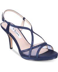 Nina Blossom-new Navy Satin - Blue